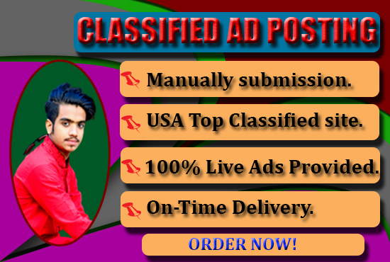 I Will Provide 110 Manual Classified Ads Posting On Top Ad Websites