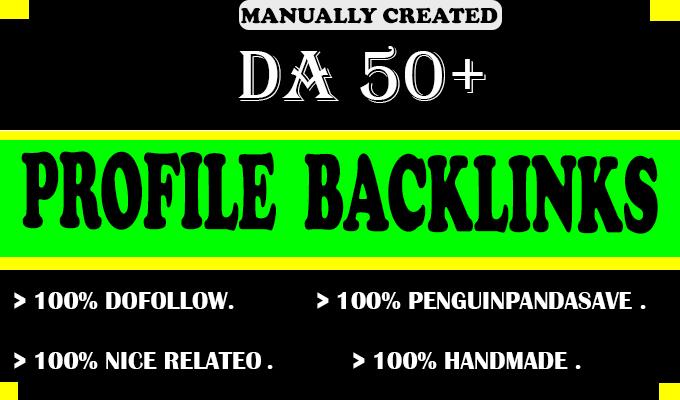 I will make 50 SEO do-follow profile backlinks on high authority websites