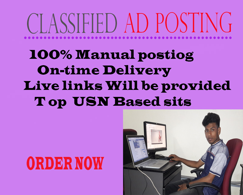 I Will Provide 100 Manual Classified Ads Posting On Top Ad Websites
