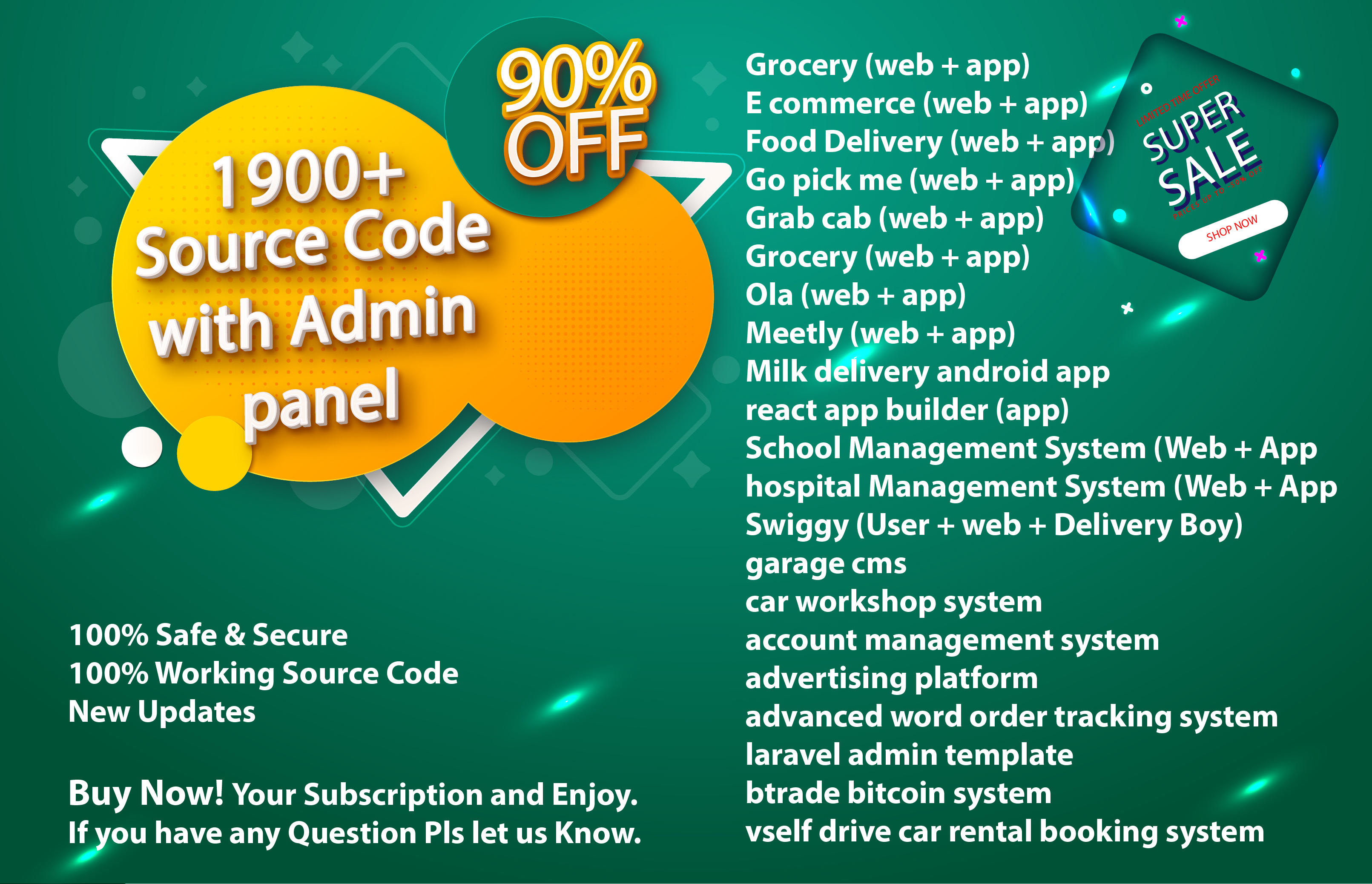 1900 + Source Code with Admin Panel Documentations + Licence