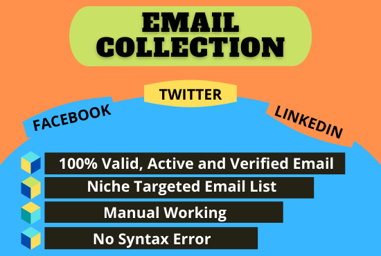 I will collect 5000+ verified niche targeted & location-based bulk email list for email marketing