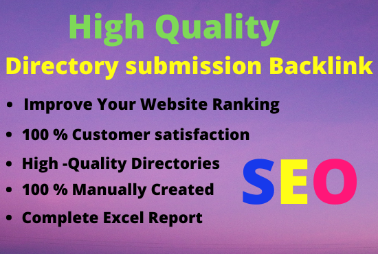 I will Provide high Quality directory submission up to 50 websites
