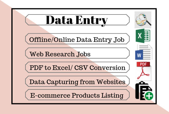 I will do data entry,  copy paste,  excel data entry,  typing work,  virtual assistant