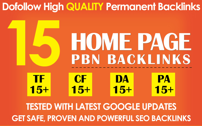 I will 15 PBN TF CF DA PA 15+ high quality permanent Dofollow backlinks