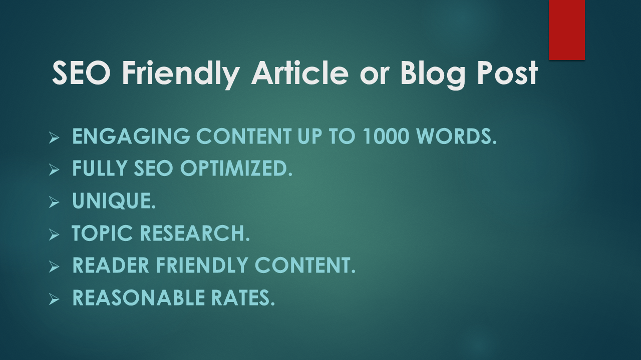 I will do high quality articles or blog posts