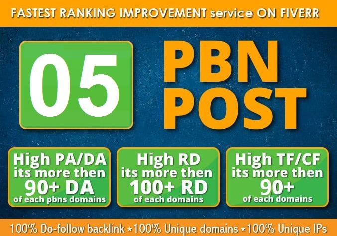 I will Post 5 powerful pbn On High DA90/DR90 Plus sites skyrocket ranking