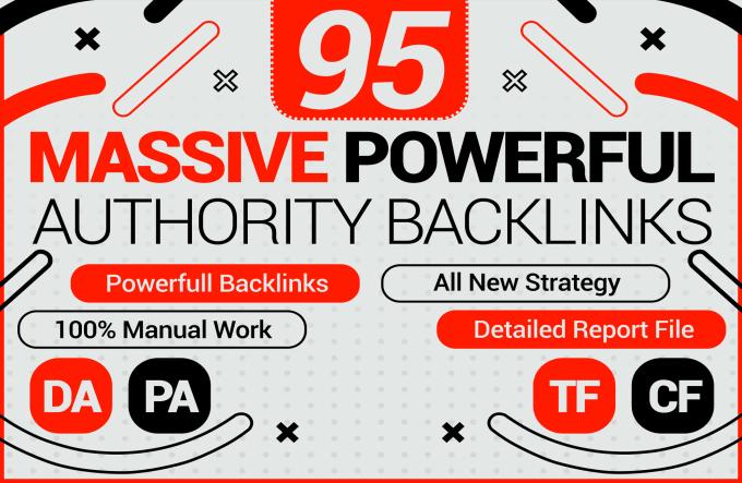 I will Create 95 unique domain SEO Mix backlinks on tf100 da100 websites