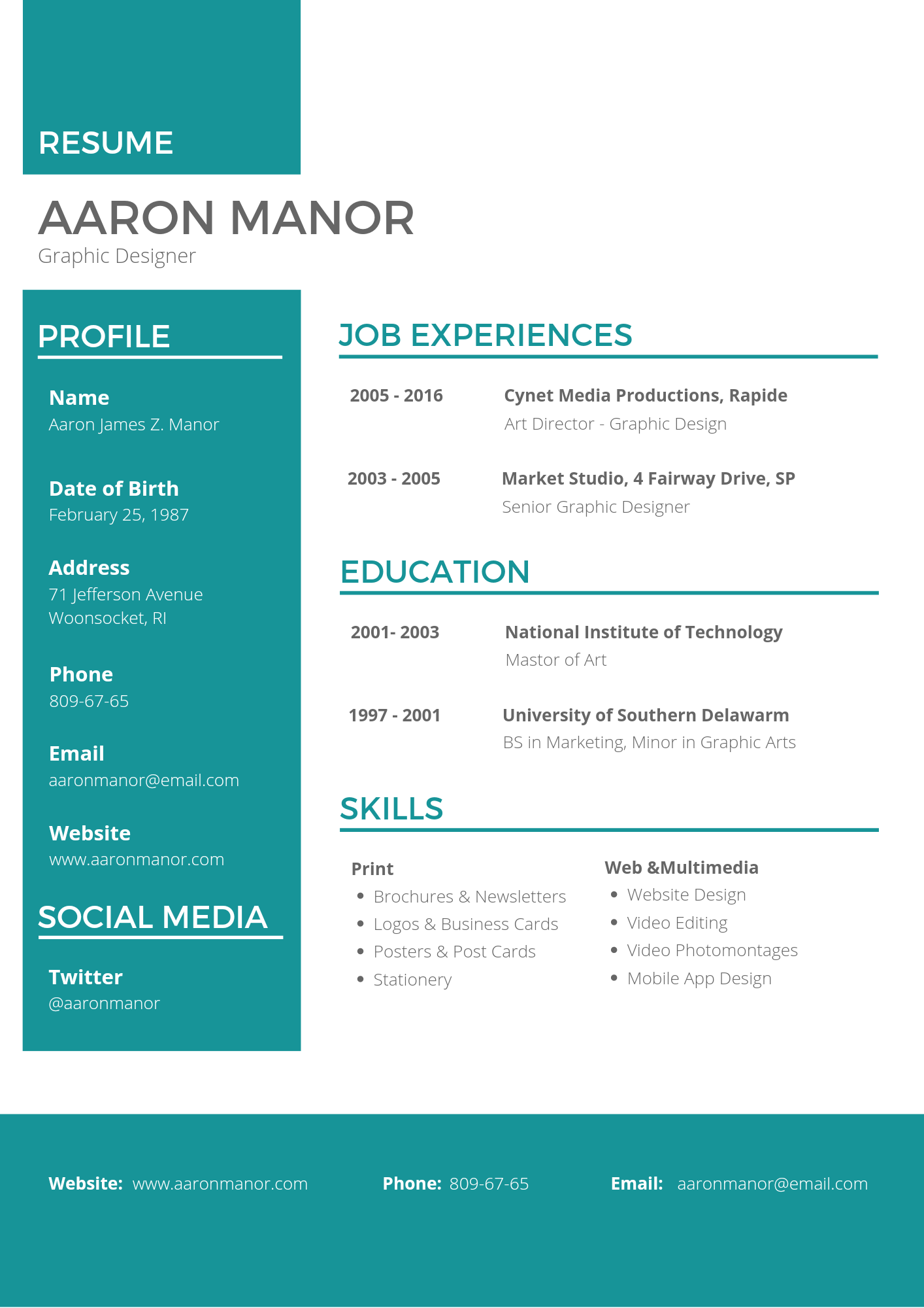 I will design a CV or Resume for job