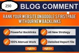 I will provide SEO service 250 blog comments dofollow backlinks