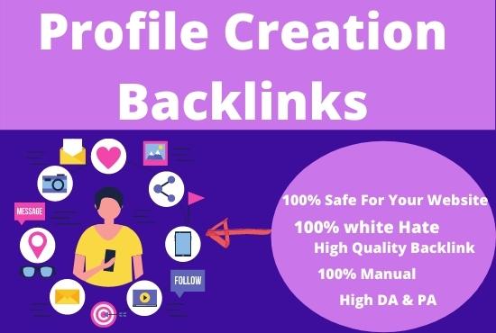 I will do high da profile creation backlinks for SEO ranking