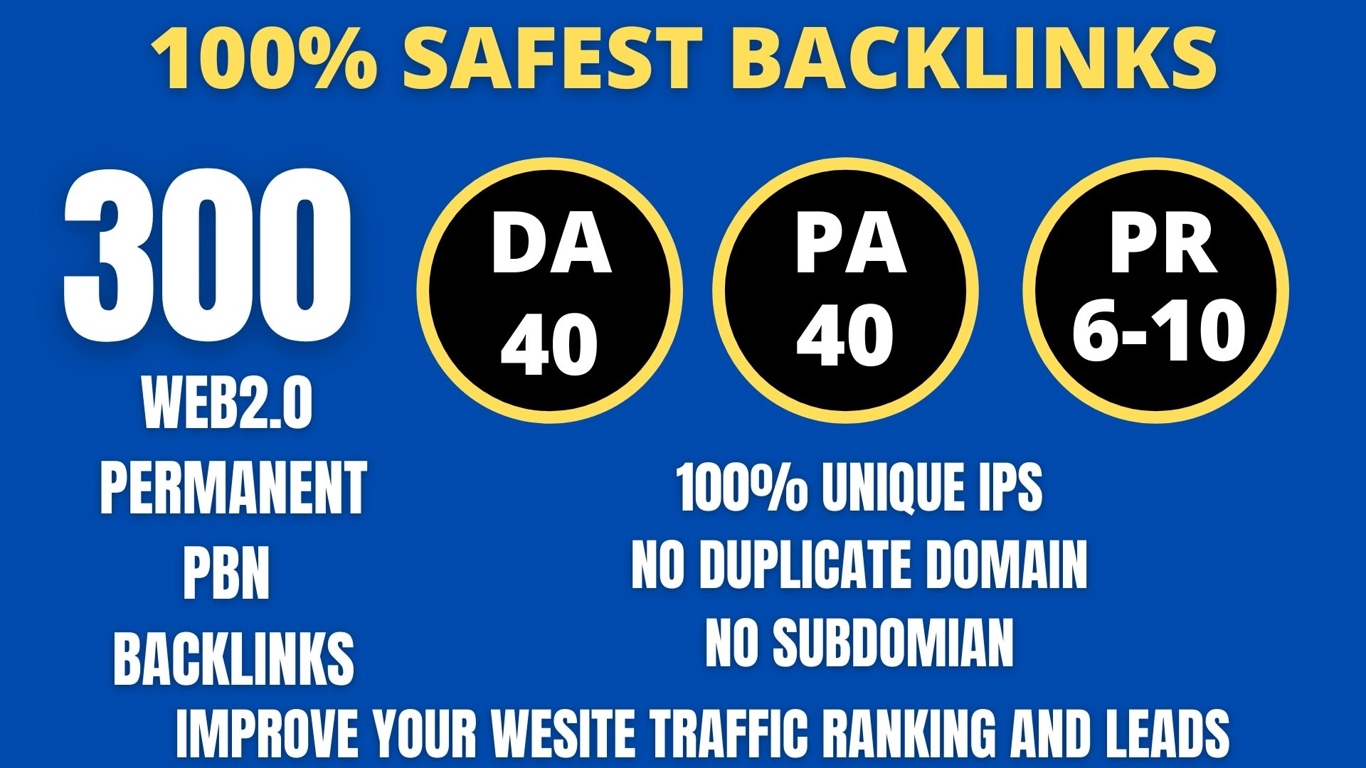 I WILL DO 300+ Permanent Web2.0 Backlink with High DA/PA/TF/CF On your homepage with unique website