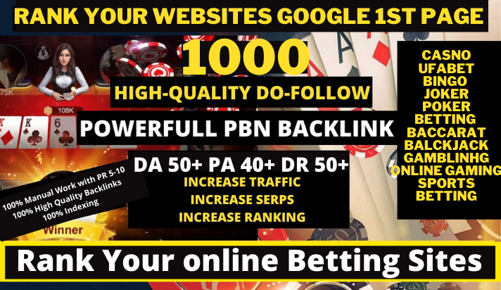 1000+ Permanent Casino, Gambling, Poker With High DA PA Do-follow Links Homepage Unique website