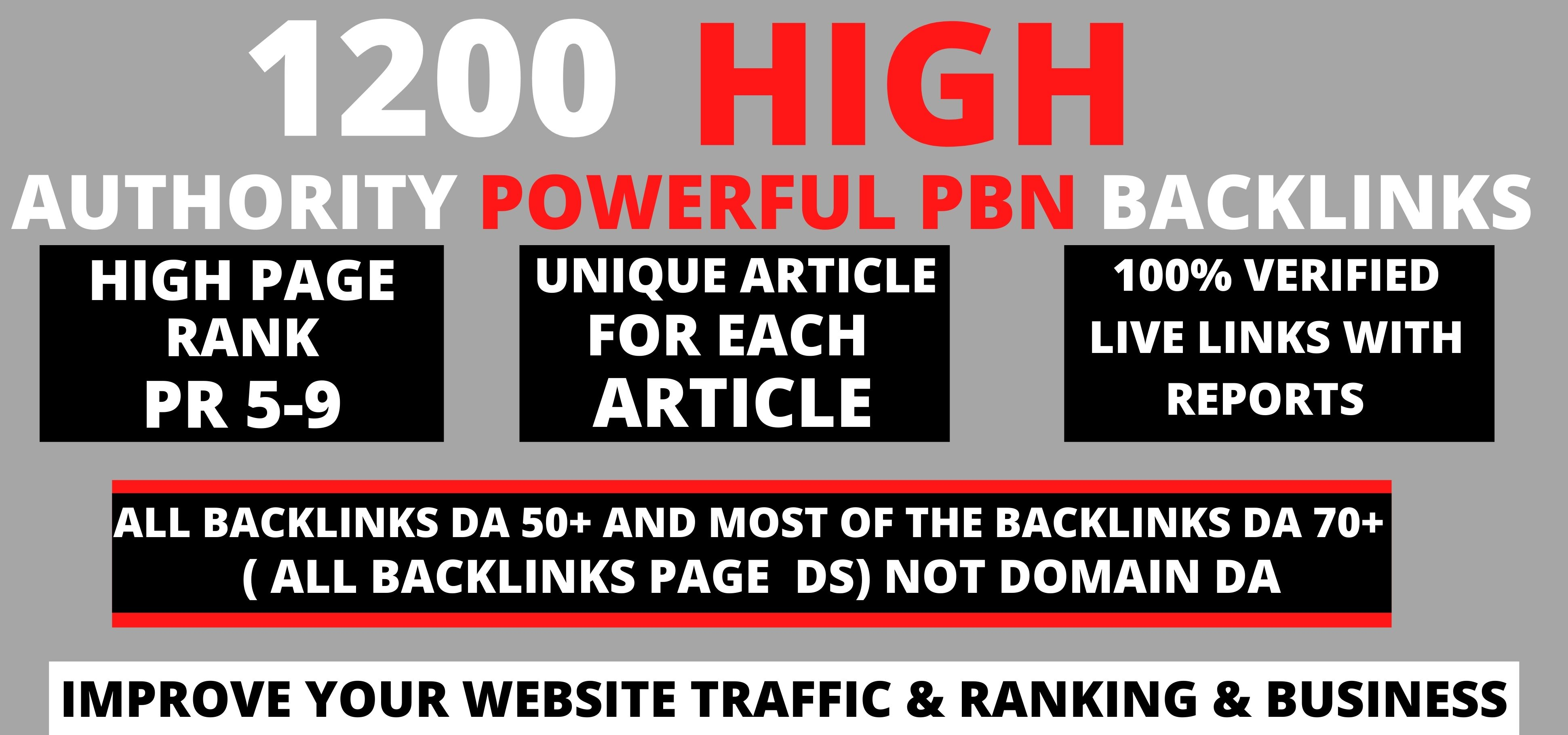 Get Extreme1200+PBN Backlink in your website homepage with HIGH DA/PA/TF/CF with unique website