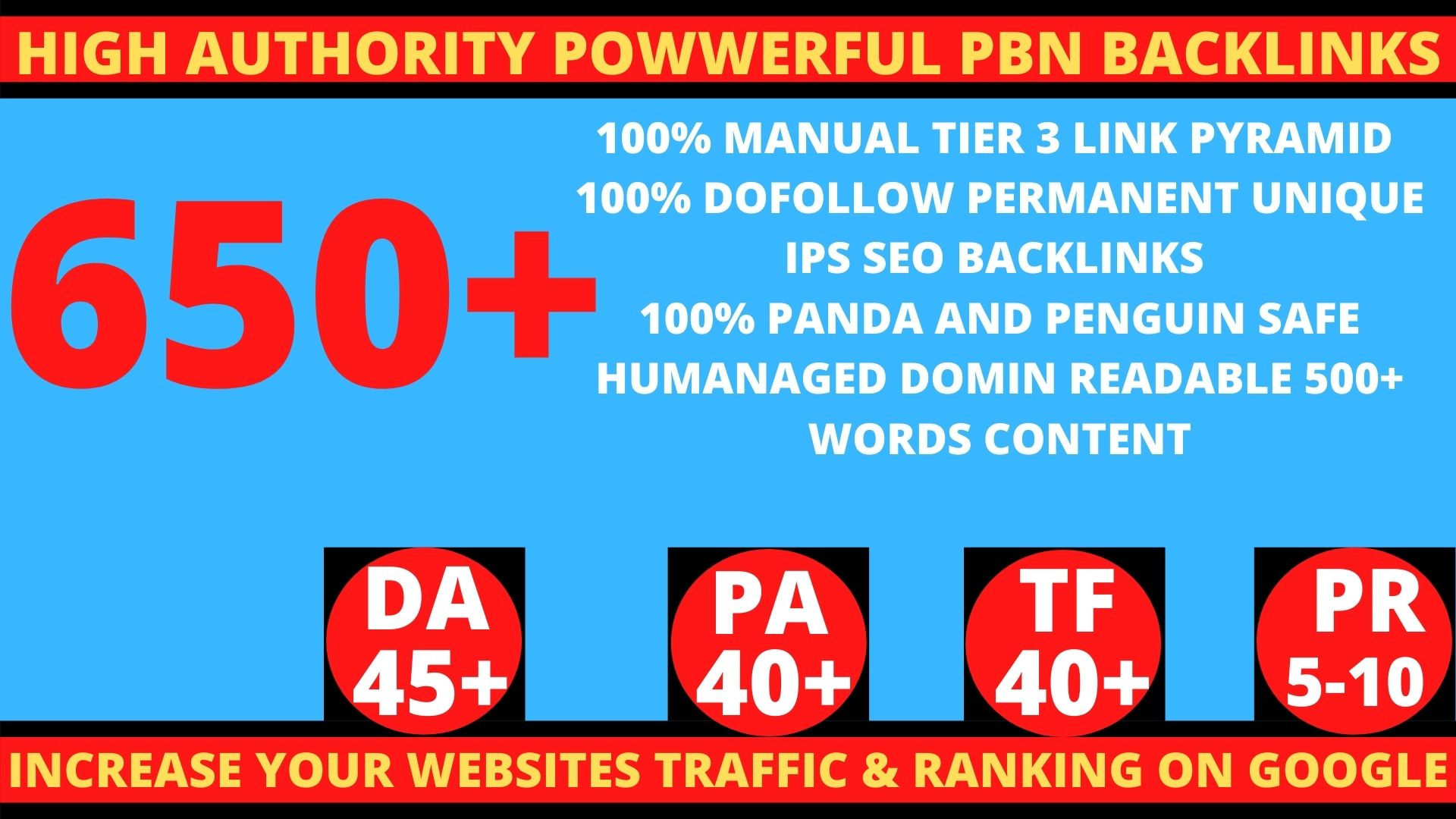 Get Extreme 650+PBN Backlink in your website homepage with HIGH DA/PA/TF/CF with unique website