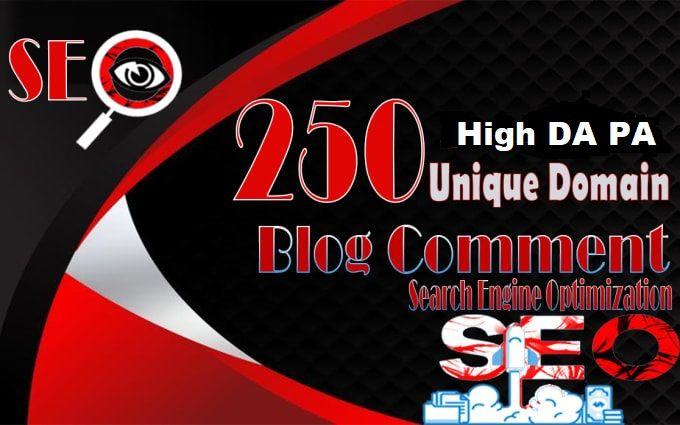 Get 250 Unique domains Blog comment low obl dofollow high DAPA backlinks higher ranking websites