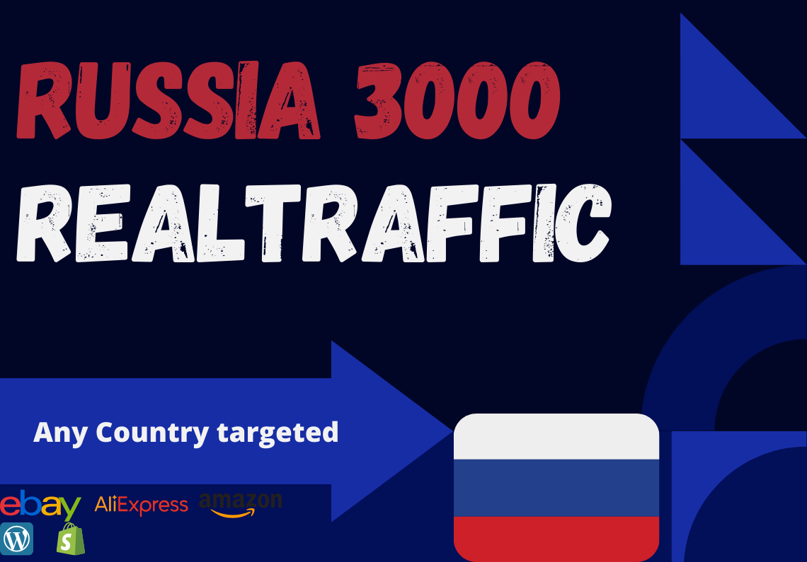 Russia website Real person 3000 traffic low bounce rate google analytics trackable