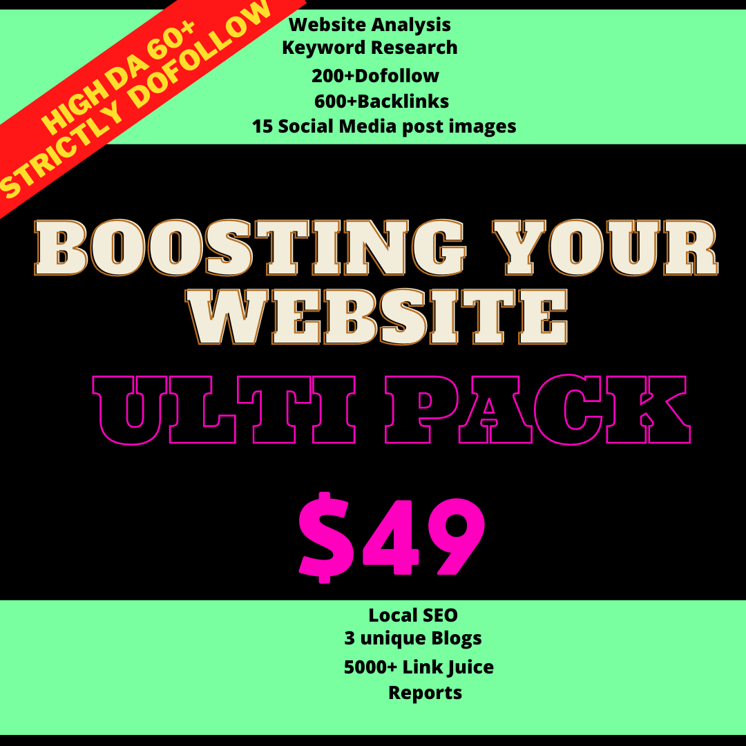 200+ dofollow - 5000+ Linkbuilding -15 social media images -3 blogs and many more for cheapest price