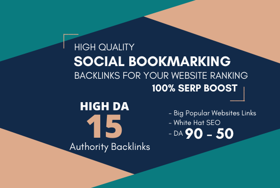 I will do TOP 15 Social Bookmarking on High DA PA Sites