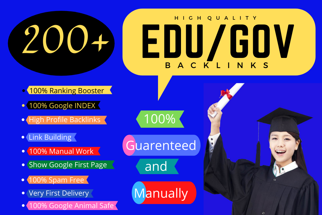 I will create manually 200+ HQ EDU/GOV backlinks for boost your ranking.