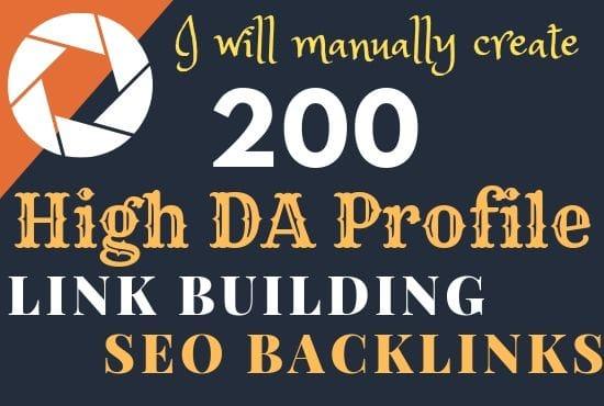 Manually create 200 high da profile seo backlinks,  link building