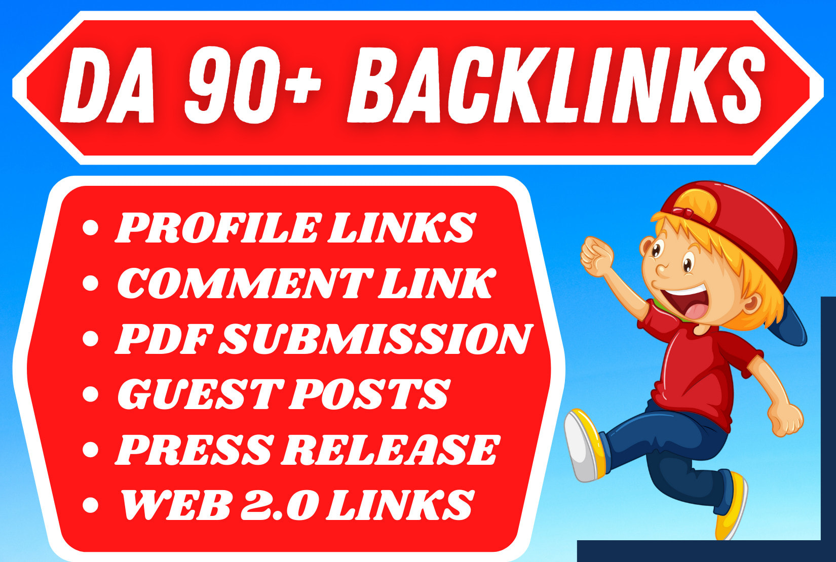 Create 65 manual white hat monthly SEO backlinks