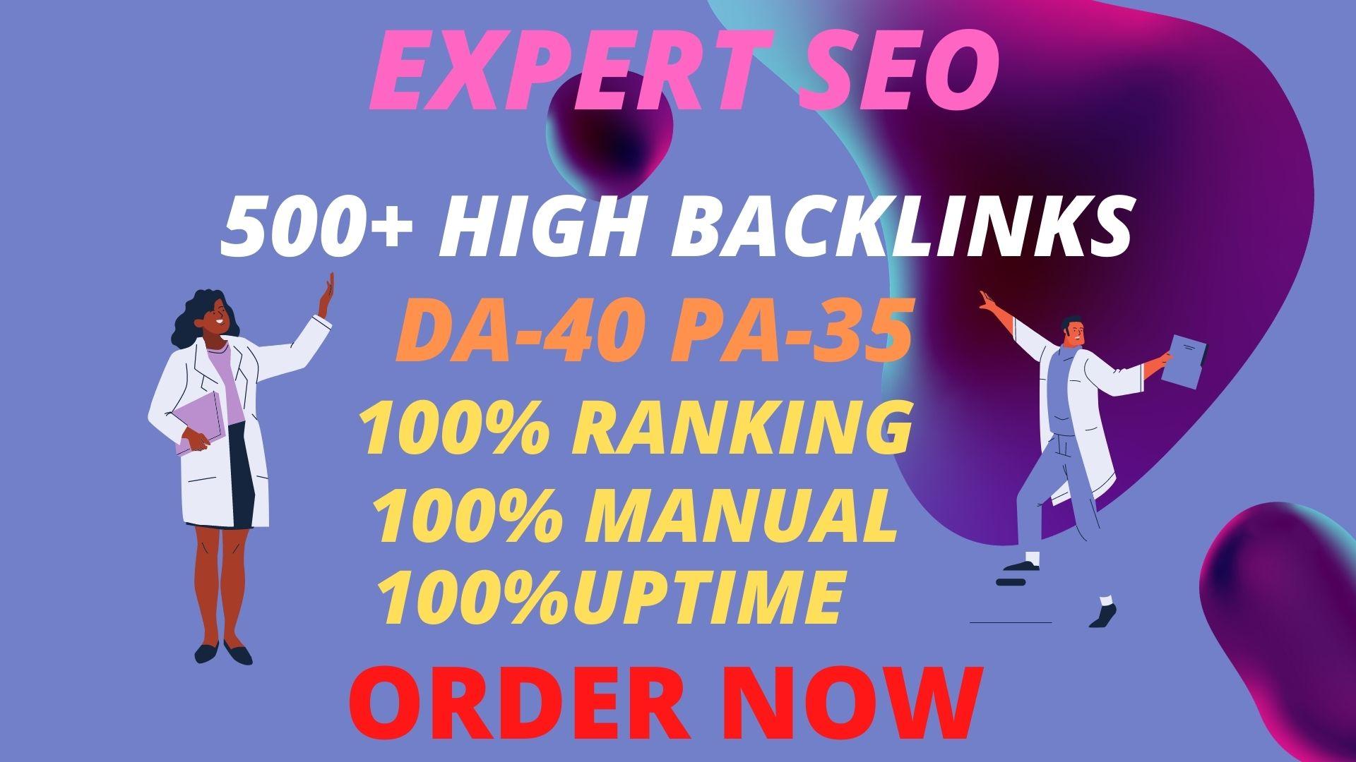 I will provide 500 + build web 2.0 backlinks manually.