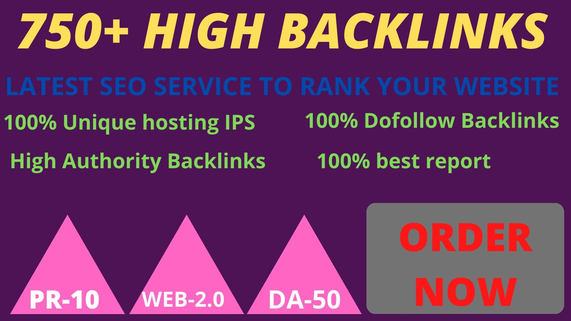Get powerful 750+ pbn backlinks with high DA /PA on your homepage with a unique website.