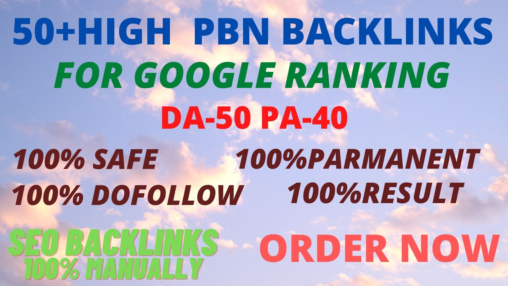 Get powerful 50+ pbn backlinks with high DA/PA on your homepage with a unique website