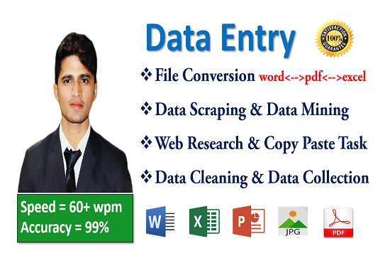 I'll do Data Entry & Virtual Assistance.