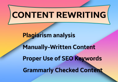 I will provide plagiarism free SEO Content or Article Writing or Rewriting service