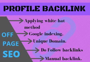 30 profile Backlink on high DA & PA sites with permanent Backlink.