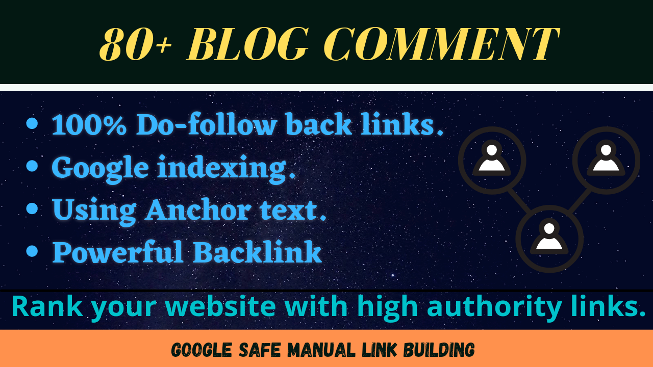 80 MANUAL Do follow Blog comments with anchor text Back links on High DA Sites.