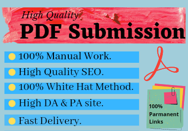 I will Create PDF & submit it on 80 sites with permanent back links with high DA to sharing sites