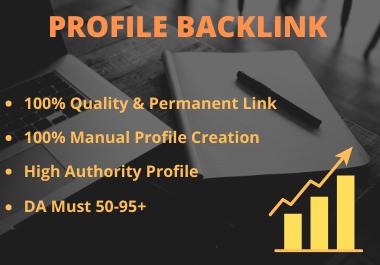 I will create 50 manual profile backlinks in high DA site for seo