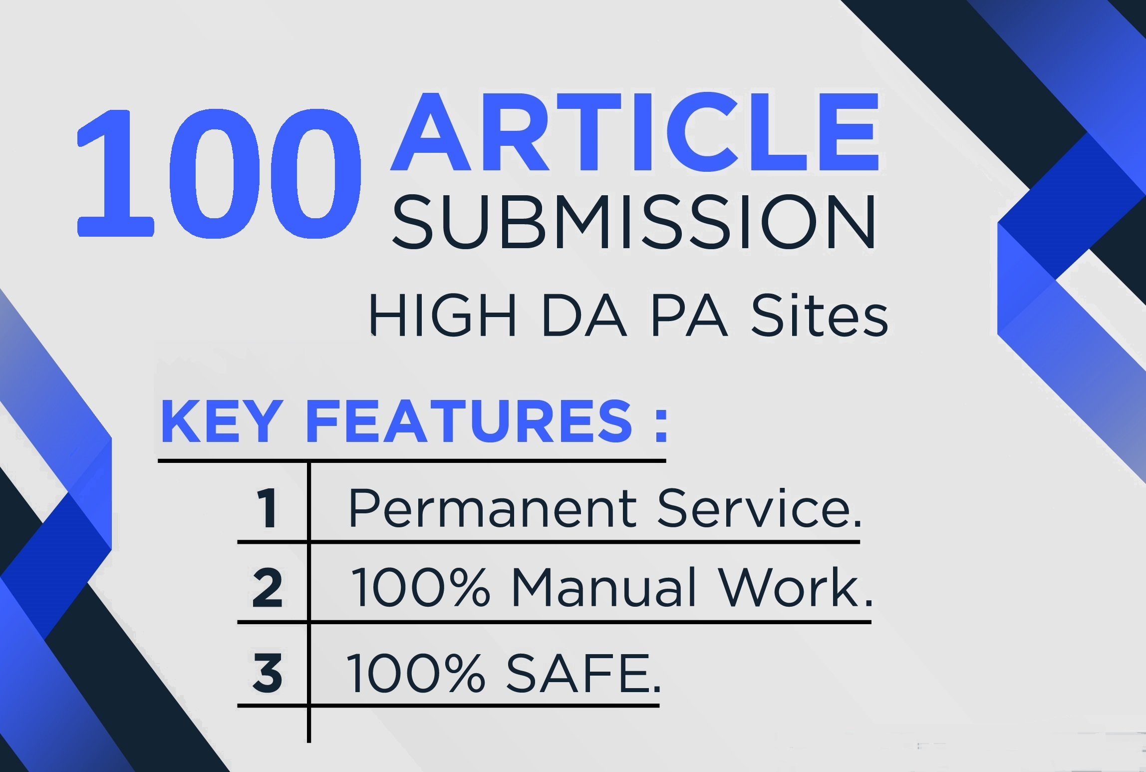 I will manually create 100 article submission on high DA PA sites