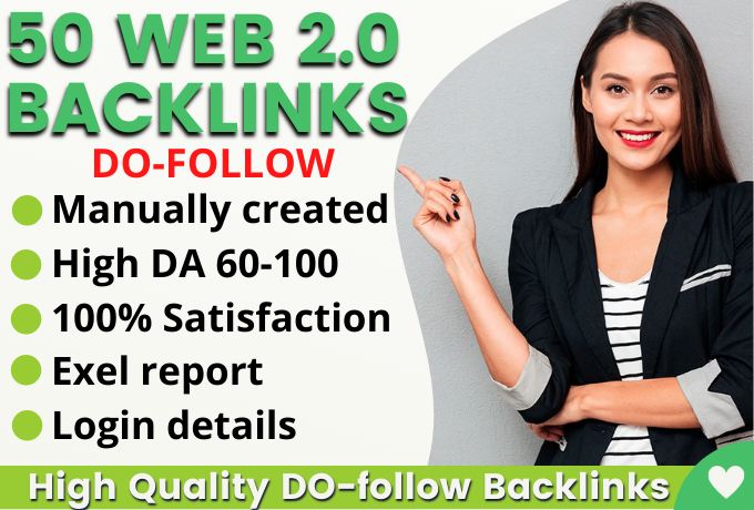 Manually Create 50+HQ Safe Web 2.0 Backlinks Rank on Google