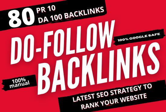 I Will make 80 UNIQUE PR10 SEO BackIinks on DA100 sites white hat SEO link building