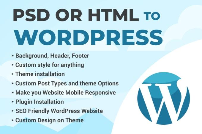 I will convert PSD or HTML to WordPress website