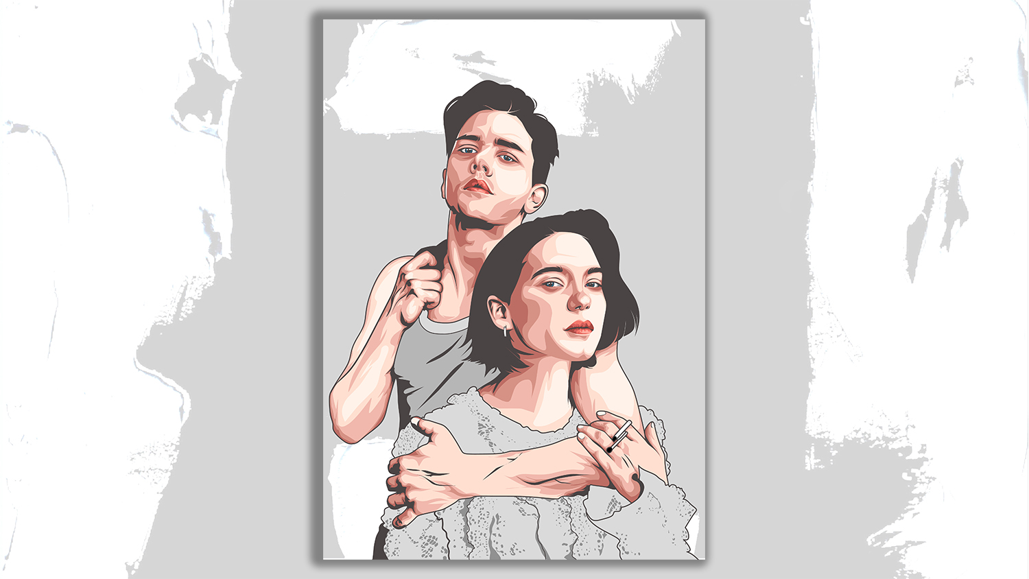 I will draw cute couple vector art portrait