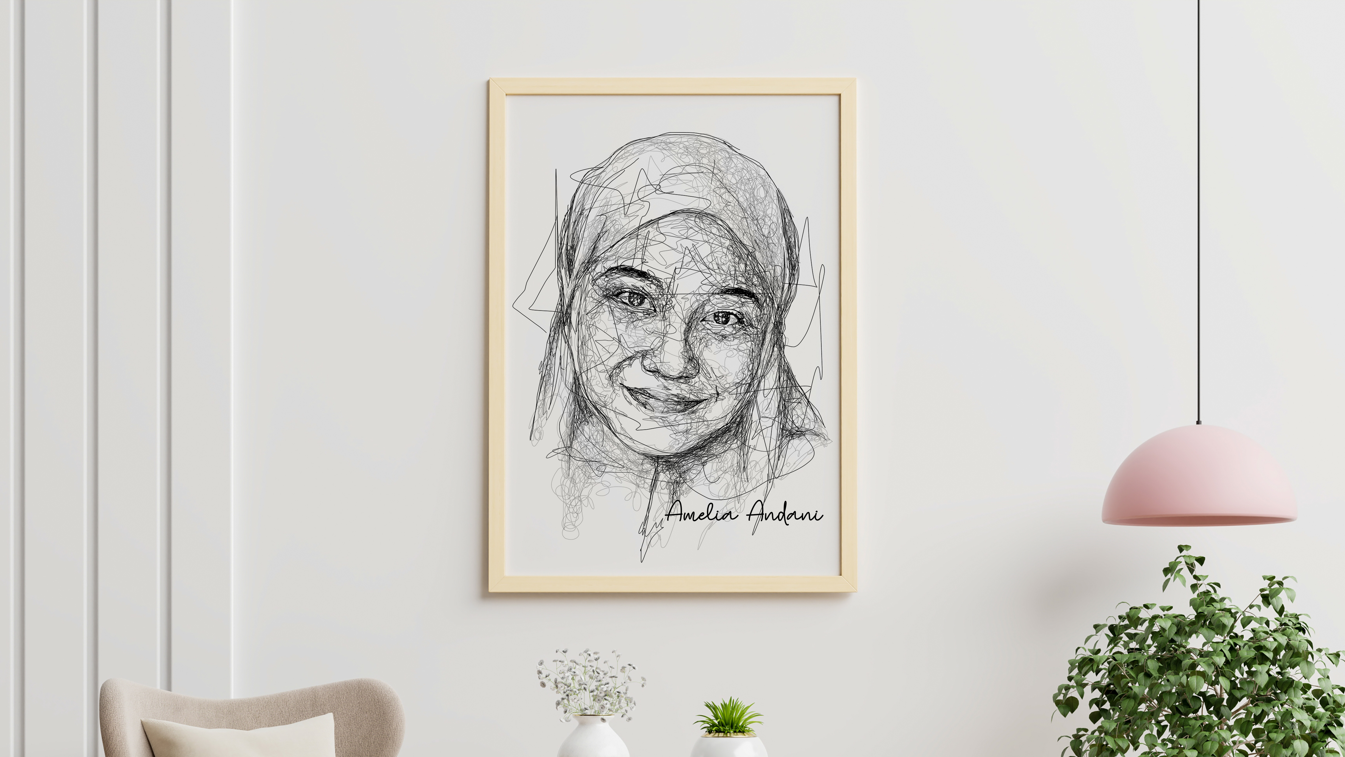 I will draw your scribble art portrait with my line style