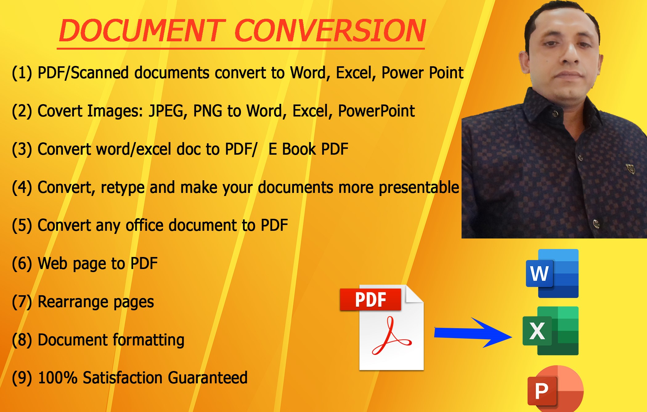 I will convert PDF to word, excel or,powerpoint or any version