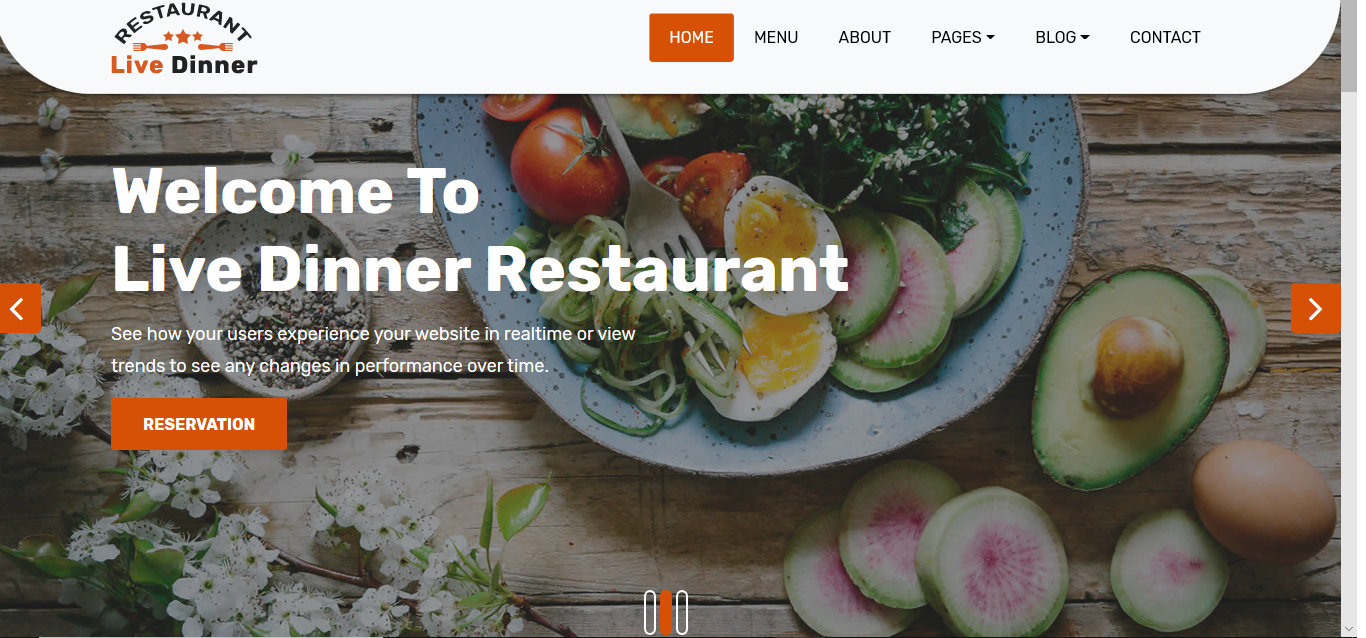 Restaurant Web Design with Adobe XD,  HTML5,  CSS3,  JavaScript
