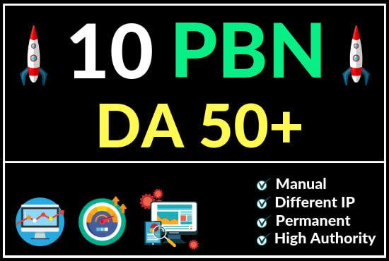 10 High Quality DA 50+ Homepage Dofollow PBN Backlinks