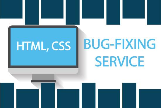 I will do any HTML,  CSS Bug Fixing OR Error Fixing