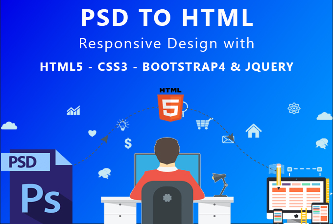 convert PSD TO HTML xd to html,  sketch to html responsive bootstrap 4