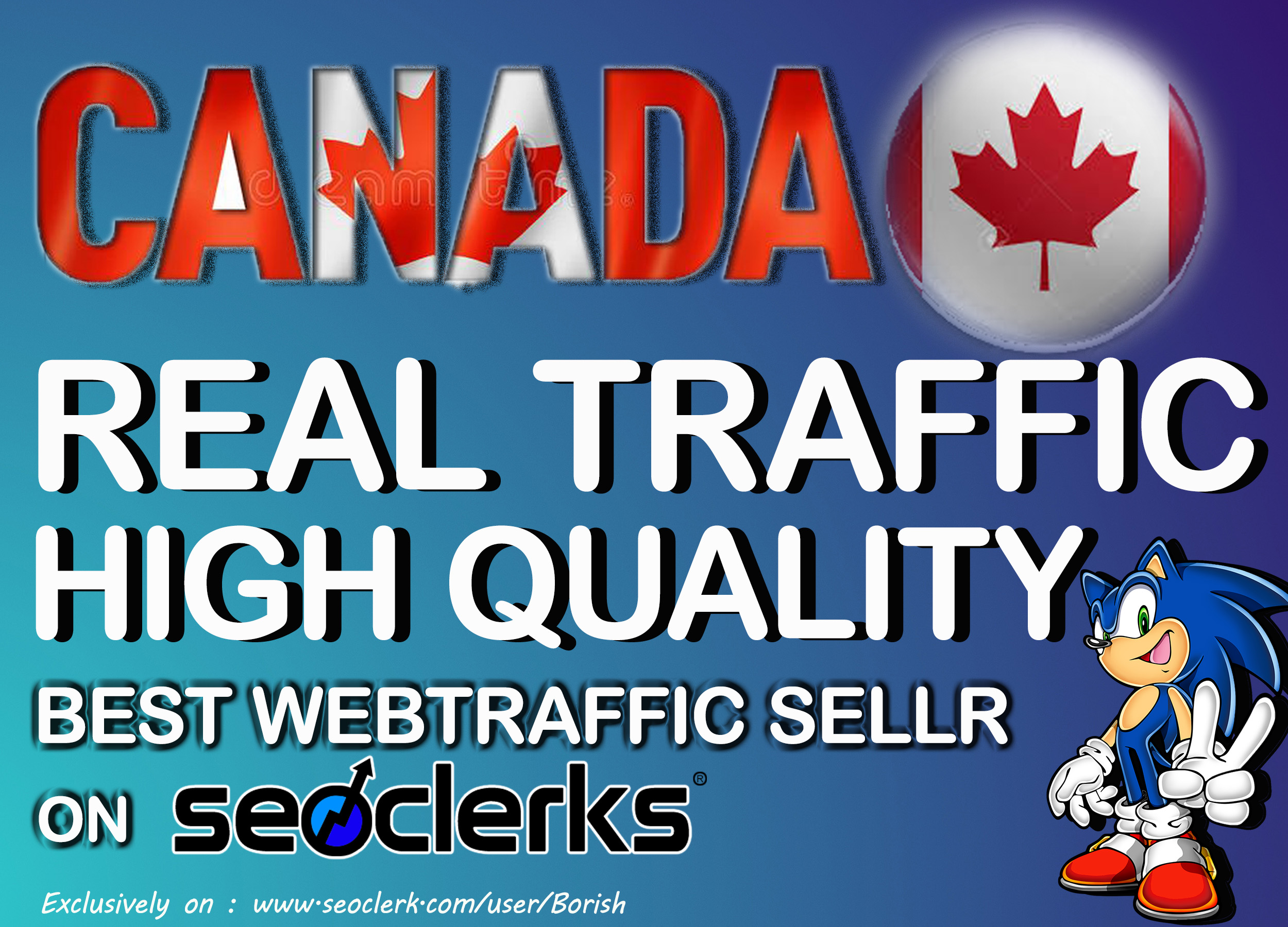 30000 I will send keyword targeted CANADA traffic with low bounce rate Daily900 - 1000 for 30 days