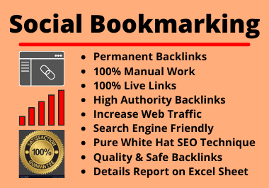 20 Social Bookmarks High authority permanent unique manual backlinks for your website