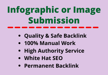 20 Image or Infographic Submission High Authority Low Spam Score Website Backlink