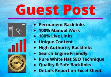 Write and Publish 10 Guest Posts High Authority Unique Content Permanent Backlinks