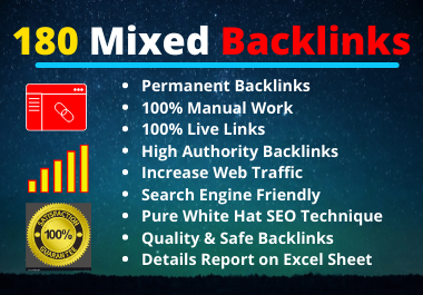 180 Mixed Backlinks High Authority Permanent Natural High Quality Link Building Rank Your Website